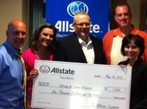 Local Allstate Agent Ken Smith presents Allstate Agency Hands in the Community check to Gateway for Cancer Research representative with WGN Radio Sports Night Crew