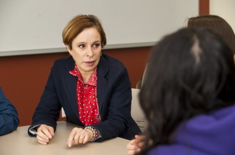 Alina Fernandez speaks to Elgin Community College students prior to her formal talk at the school. The event was part of Latino Heritage Month. (Submitted by Elgin Community College)
