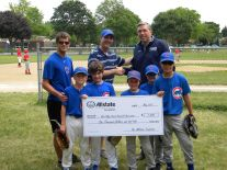 Wheaton Allstate Agent Casey Mulcare presents Allstate Agency Hands in the Community check to Glen Ellyn Youth Baseball Association