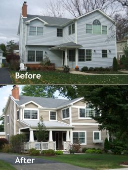 Budget friendly home exterior makeover creates depth drama and curb appeal hinsdale news House transformations exterior