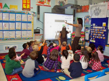 Kindergarten teacher, Christy Klimes, delivers calendar instruction to her students using the SMART Board.
