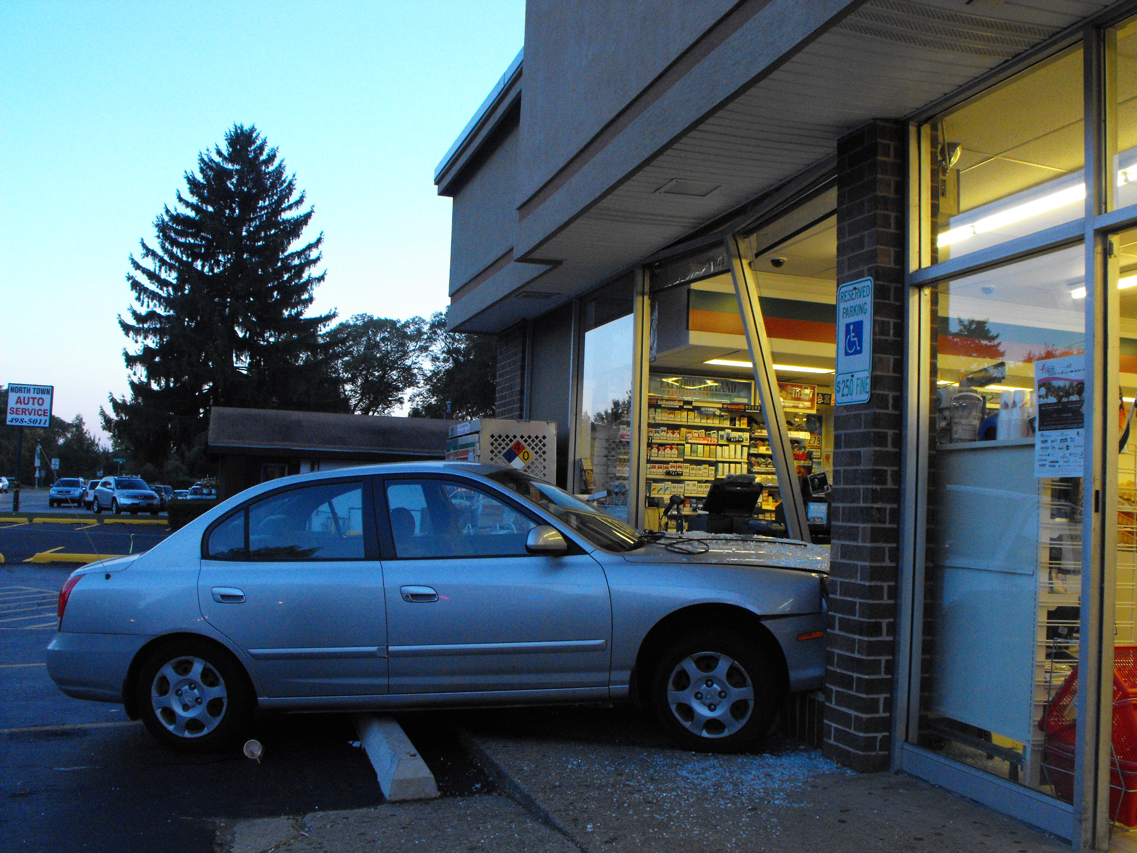 Woman Drives Car Through Northbrook 7 Eleven Window
