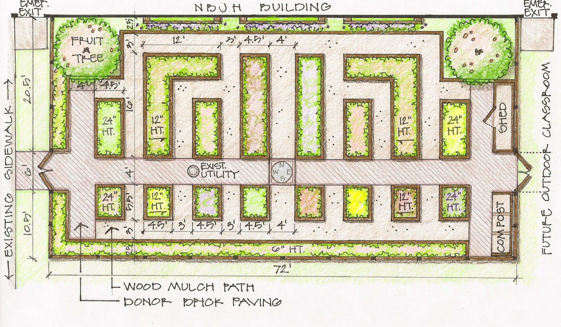 Intensive vegetable garden plans - A Rendering Shows The Proposed Layout Of A New Teaching Garden At Northbrook Junior High School