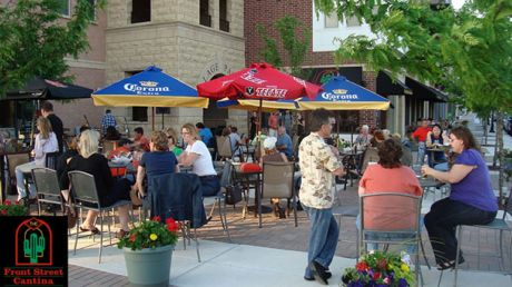 Diners Enjoy The Outdoor Patio At Front Street Cantina In Downtown Lemont.