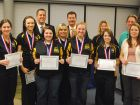 Andrew's state champion girls bowling team was honored by the D230 board. (Jeff Vorva/Tribune)