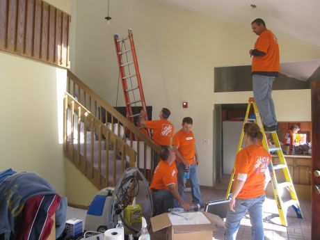 Fifity Employees From 10 Area Home Depot Stores Acted As Volunteers  Tuesday, Painting And Doing