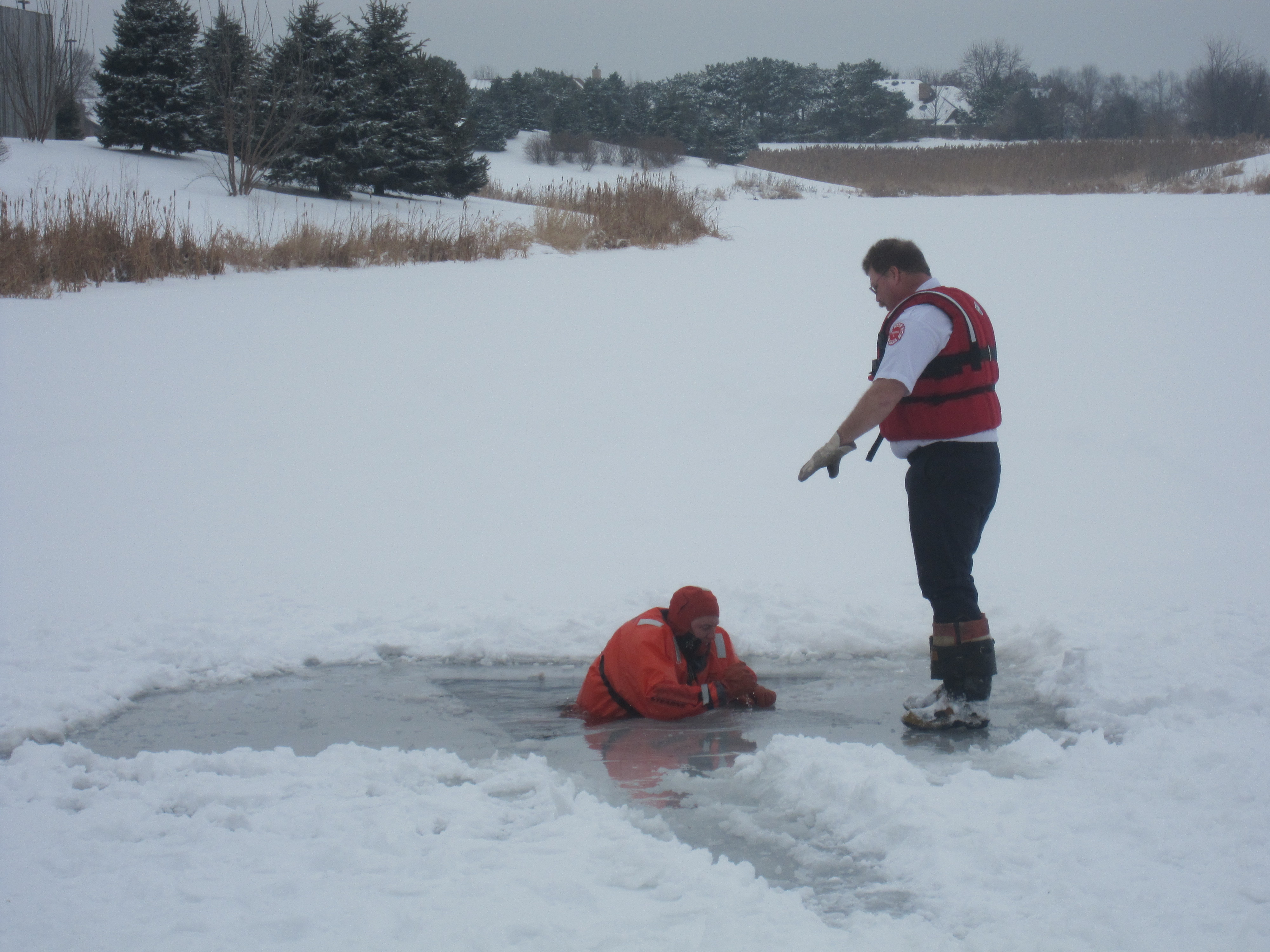 Fire Department Warns Of Playing On Icy Ponds Plainfield News Photos And Events
