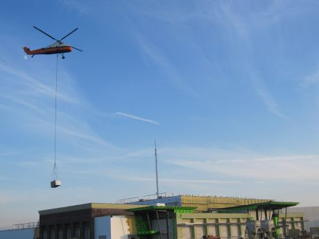 Helicopter Lends A Lift At Convention Center Construction