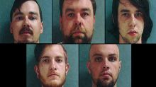 Top row: Cody Sutherlin, Jason Sutherlin and Dylan Sutherlin. Bottom row: Alex Robert Stuck and John Steve Tucker have been charged in connection with a mob attack at the Ashford House Restaurant Saturday in Tinley Park. Police are still seeking about a dozen people who attacked what they believed to be a gathering of white supremacists. (Tinley Park Police photos / May 21, 2012)