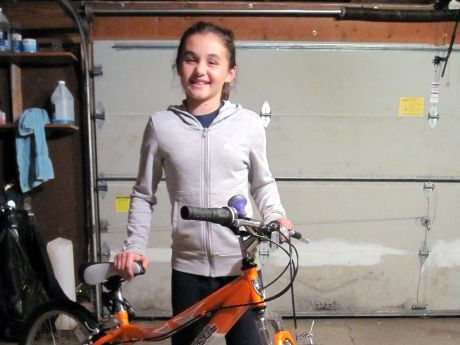 Nicole Basil, 12, pictured here in 2010, created the Pedal Power bicycle ...